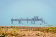 Old oil rig in Caspian Sea. In Azerbaijan stock photos