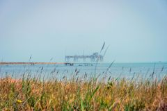 Old oil rig in Caspian Sea. In Azerbaijan royalty free stock photos