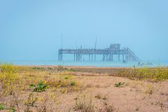 Old oil rig in Caspian Sea. In Azerbaijan royalty free stock photo