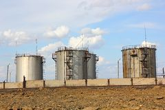 Old oil storage tank Stock Photo