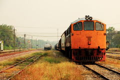 Old oil tanker train and engine Stock Photo