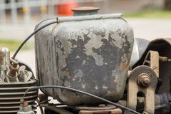 Old oil tanks of old cars, many years old royalty free stock photo