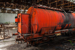 Old oil transporter at depot. Closeup royalty free stock photography