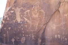 Famous Birthing scene Rock art petroglyphs of Arches National Park. Old, old, rock art of petroglyphs of Arches National Park stock photo