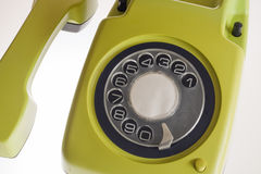 Old olive-green telephone Stock Image