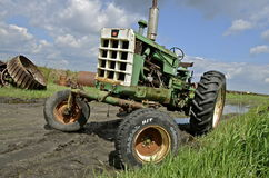 Old Oliver tractor in a salvage yard Stock Photo