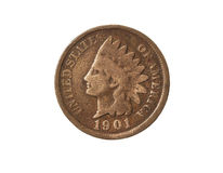 Old One Cent. Old American One Cent Coin (Indian Head) on White Background Stock Photography