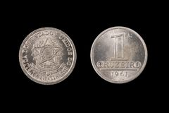 Old One Cruziero Coin From Brazil stock image
