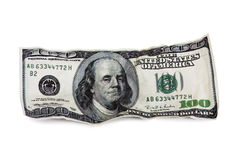 The old one hundred dollar bill isolated Royalty Free Stock Images