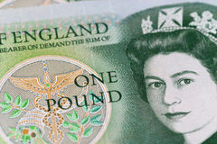Old £1 (one pound) note. Detail of an old UK sterling £1 (one pound) note.  This note is no longer legal tender or in circulation Royalty Free Stock Photo