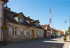 Old one-story houses. KULDIGA, LATVIA - SEPTEMBER 03, 2014 - Old one-story houses in the ancient town of Kuldiga, Latvia royalty free stock photo