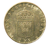 Old one Swidish krone coin. Reverse Stock Photos