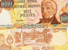 Old one thousand pesos Argentina banknote background. High resolution vintage photo of front side argentinian bill, close up macro. Old one thousand pesos stock images