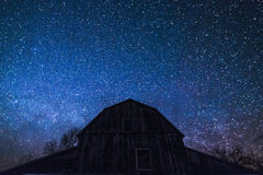 Old Ontario Barn and the milky way and night stars. An old ontario barn with gambrel roof on a  rural farm is silhouetted in the night sky. The winter Milky way Royalty Free Stock Photo