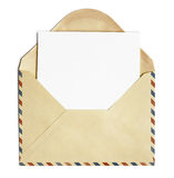 Old open air post envelope with blank paper sheet isolated stock photo
