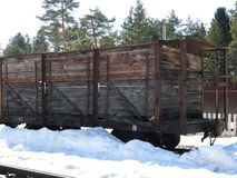Old open-air steam locomotive Pereslavl Museum in winter, Russia stock photos