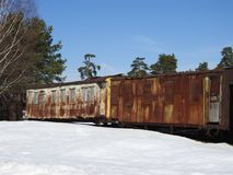 Old open-air steam locomotive Pereslavl Museum in winter, Russia royalty free stock image