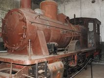 Old open-air steam locomotive Pereslavl Museum in winter, Russia royalty free stock images