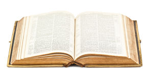 Old open Bible. On white Royalty Free Stock Image