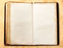Old open blank book Stock Photo
