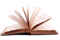 Old open book. On white background Royalty Free Stock Images