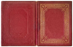 Old open book 1870. Old open book cover - circa 1870 - isolated on white Royalty Free Stock Photos