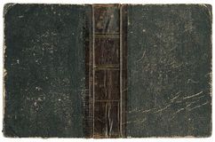 Old open book 1875. Old open book - cover with leather spine - circa 1875 - isolated on white - XL size Stock Images