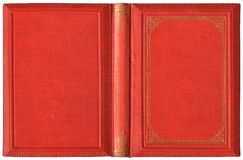 Old open book cover in red canvas and embossed golden decorations - circa 1895. Isolated on white stock photo