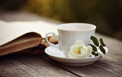 Old open book and a cup with a white wild rose Royalty Free Stock Photography