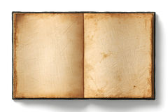 Old open book empty pages. Open book with empty old worn pages on white background royalty free stock photo