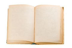Old open book isolated on white Royalty Free Stock Photos