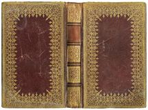 Old open book - leather cover - circa 1895 Royalty Free Stock Photos