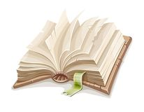 Old open book spread with blank paper. Pages and bookmark. Education and literature symbol of reading, learning and studying, isolated on white background Stock Images
