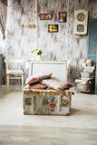 Old open the chest for toys with painted bears and pillows are. Stock Images