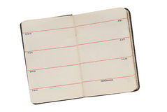 Old open diary Stock Photos