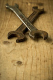 Old open end wrenches Royalty Free Stock Photography