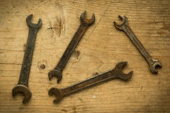 Old open end wrenches Royalty Free Stock Images
