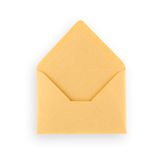 Old open envelope on white background. Royalty Free Stock Photo