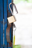 Old open padlock and key Stock Image