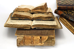 Old open religious books. Family relic Stock Photography