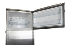 Old open stainless steel refrigerator freezer clipping path on white background. Old open stainless steel refrigerator freezer clipping path on white royalty free stock photography