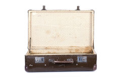 Old open suitcase isolated on white background Stock Images