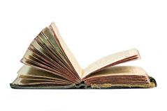 Old open vintage book. Old book on the white background Royalty Free Stock Photo