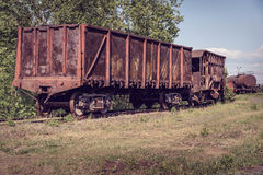 Old open wagon and hopper car Stock Photo