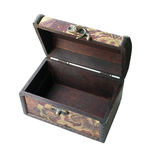 Old open wood casket isolated Royalty Free Stock Image