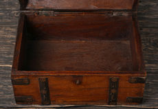 Old open wooden chest Stock Photo