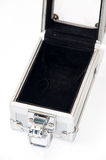 Old opened aluminum suitcase Royalty Free Stock Photography