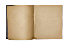 Old opened blank copybook or diary on white Royalty Free Stock Photo