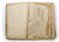 Old opened book isolated on a white background.  Stock Images