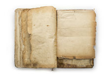 Old opened book isolated on a white background.  Stock Photo